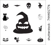 ghost icon. set of halloween... | Shutterstock .eps vector #744401776