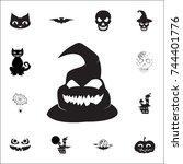 ghost icon. set of halloween... | Shutterstock .eps vector #744401776