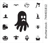 ghost icon. set of halloween... | Shutterstock .eps vector #744401812