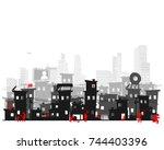 street of poor neighborhood in... | Shutterstock .eps vector #744403396