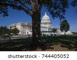 the u.s. capitol is seen on a... | Shutterstock . vector #744405052