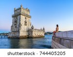 woman tourist traveler sitting... | Shutterstock . vector #744405205