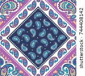 indian floral paisley seamless...   Shutterstock .eps vector #744408142