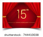 15th anniversary logo with... | Shutterstock .eps vector #744410038