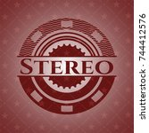 stereo red emblem   Shutterstock .eps vector #744412576
