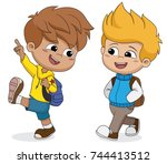 kid waking to school.back to... | Shutterstock .eps vector #744413512