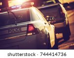 state police traffic stop on a... | Shutterstock . vector #744414736