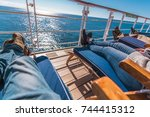 Cruise Ship Vacation. Relaxing on the Deckchair. Sea Travel Concept. - stock photo