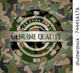 genuine quality on camo pattern | Shutterstock .eps vector #744416176