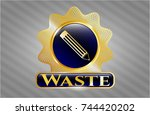 golden emblem with pencil icon ... | Shutterstock .eps vector #744420202
