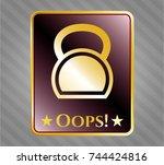 gold emblem with kettlebell... | Shutterstock .eps vector #744424816