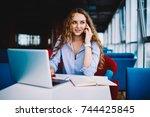 pondering talented female... | Shutterstock . vector #744425845
