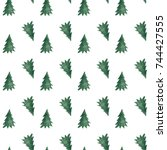 hand drawn christmas trees in... | Shutterstock . vector #744427555