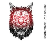 angry smiling cunning wolf... | Shutterstock .eps vector #744428302