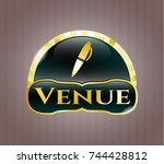 golden emblem with pen icon... | Shutterstock .eps vector #744428812