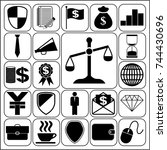 set of 22 business high quality ... | Shutterstock .eps vector #744430696