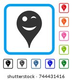 wink smiley map marker icon....   Shutterstock .eps vector #744431416