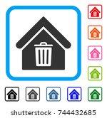 trash house icon. flat gray...