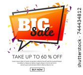 new year sale background vector ... | Shutterstock .eps vector #744434812