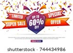 new year sale background vector ... | Shutterstock .eps vector #744434986
