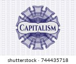 blue passport money rossete... | Shutterstock .eps vector #744435718