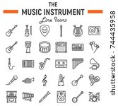 music instruments line icon set ... | Shutterstock .eps vector #744435958