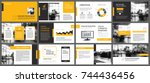 Yellow and white element for slide infographic on background. Presentation template. Use for business annual report, flyer, corporate marketing, leaflet, advertising, brochure, modern style. | Shutterstock vector #744436456