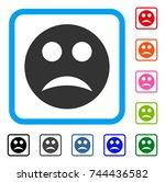 sad smiley icon. flat gray...