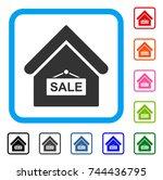 sale building icon. flat gray...