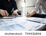 auditor calculate number of... | Shutterstock . vector #744436846