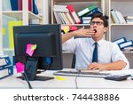 businessman working in the...   Shutterstock . vector #744438886