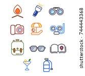 set icon travel activity | Shutterstock .eps vector #744443368