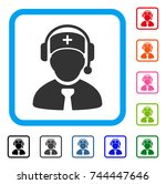 medical call center icon. flat...   Shutterstock .eps vector #744447646