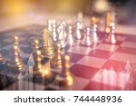 chess board game concept of... | Shutterstock . vector #744448936
