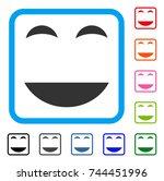 happy smile icon. flat gray...
