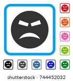 furious smiley icon. flat grey... | Shutterstock .eps vector #744452032