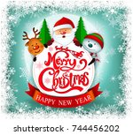 smiling snowman and santa... | Shutterstock .eps vector #744456202