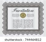 grey retro invitation template. ... | Shutterstock .eps vector #744464812