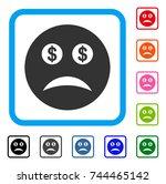 bankrupt smiley icon. flat gray ...