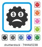 bankrupt smiley gear icon. flat ...
