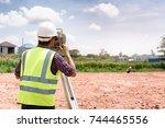 surveyor equipment. surveyor s... | Shutterstock . vector #744465556