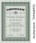 green sample diploma. vector...   Shutterstock .eps vector #744468952