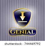 shiny badge with download icon ... | Shutterstock .eps vector #744469792