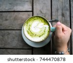 a ceramic cup of japanese... | Shutterstock . vector #744470878