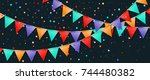 bunting flags garland.... | Shutterstock .eps vector #744480382