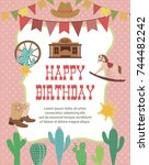 happy birthday card with cowboy ... | Shutterstock .eps vector #744482242