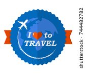 i love to travel vector logo .... | Shutterstock .eps vector #744482782