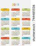 2018 colored calendar | Shutterstock .eps vector #744485536