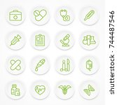round green medical icons on... | Shutterstock .eps vector #744487546