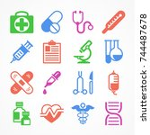 color medical icons on white... | Shutterstock .eps vector #744487678